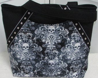 Damask Skulls Tote Bag Black And Grey Purse Githic Skulls Shoulder bag Ready To Ship