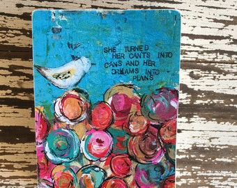 bird art block,ACEO  Reproduction Mounted On Wood Block by Sunshine Girl Designs (2.5 x 3.5 Inches Print)flowers, teen art, inspirational