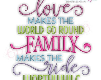 Love Makes The World Go Round Family Makes The Ride Worthwhile - Inspirational -Instant Download Machine Embroidery Design
