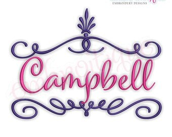 Campbell Font Frame  -Instant Download Machine Embroidery Design