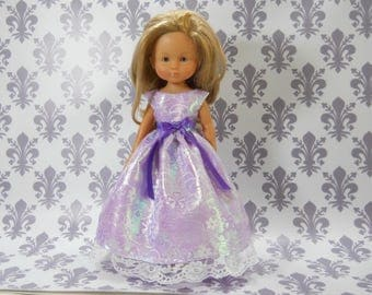 13 inch doll clothes made to fit dolls such as Corolle Les Cheries doll clothes, Lavender Purple Fancy Princess Dress, 04-2016