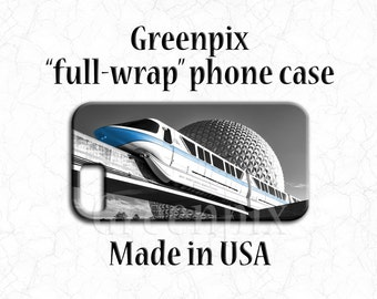 Disney iPhone case, Disney iPhone 7 case, Disney iPhone 7+ case, Disney iPhone 7 Plus case, monorail blue, EPCOT, Spaceship Earth, greenpix