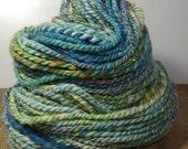 Handspun Yarn, Hand Dyed Yarn, Sparkly Yarn, Merino Wool Yarn - Water Lillies - 2 Ply Yarn, Blended Art Yarn, Sparkle Wool Yarn