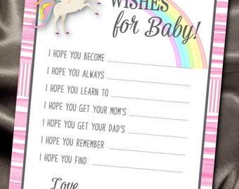 10  Wishes for Baby Cards, Baby Shower Party Games, Activity Game Cards, Unicorn, Rainbow, Pastel Colors, Pink Stripes