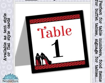 Table Number Cards, Black & Red High Heel Stilettos, Bridal Shower, Bachelorette Party, Lingerie Shower, Birthday