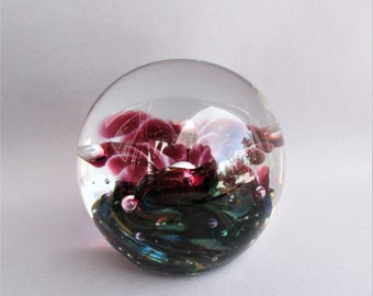 Hand Blown Art Glass Bubble Pattern Paperweight