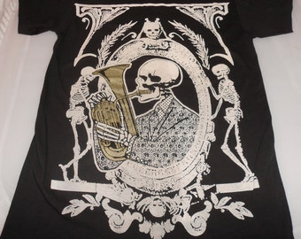 T-Shirt - Skeleton Funk (White/Gold on Black)