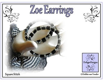 Tila Beading Pattern, Tutorial, Earrings - ZOE