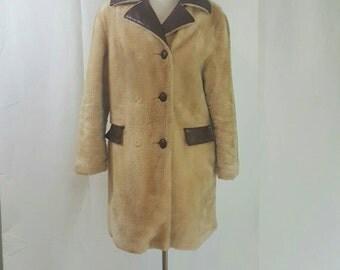 Vintage Retro Faux Leather and Fur Coat Large