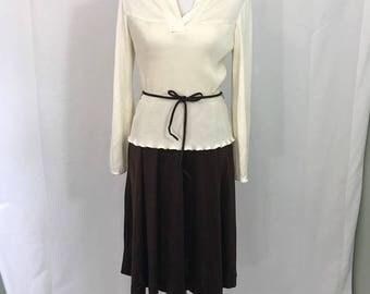 Vintage 1970s Secretary Pleated Peplum Dress M