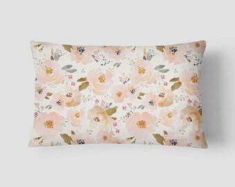 """Peachy Blossoms // Decorative Pillow Cover 12""""x18"""" // Lumbar Pillow // Rectangular Throw Pillow"""