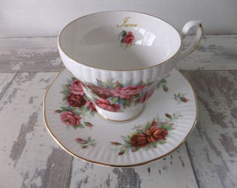Vintage Royal Dover June Rose Tea Cup and Saucer Set Fine Bone China Made in England