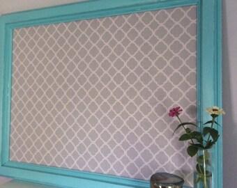 Quatrefoil fabric corkboard  mexicali turquoise home office kirchen command center gray quatrefoil