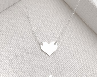 NEW - Sterling Silver Little Heart Necklace - Modern Dainty Minimal Simple Necklace Cute Gift - Simple Everyday - Minimalist Necklace - Gift