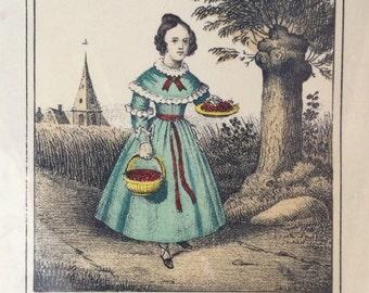 Vintage Children's Book Illustration on Selfishness, Brother Gift from Sister