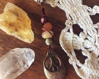 SALE! Gemstones and Peace Sign Long Pendant Necklace