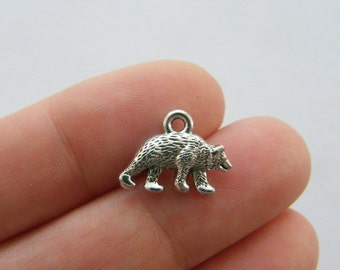 BULK 50 Bear charms antique silver tone A145