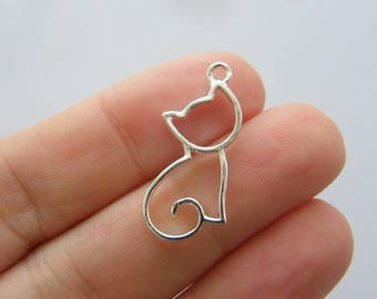 BULK 30 Cat charms silver plated CT20
