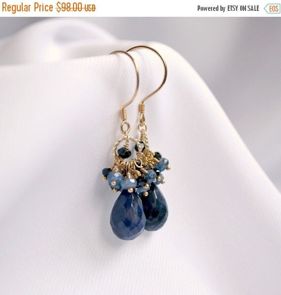 15% Easter Sale Blue sapphire earrings and necklace, black spinel, vermeil and gold filled - Wedding jewelry, Blue Bridesmaids Bridal Earrin