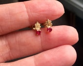 Ruby Flower Earrings - 14K Gold - Vintage