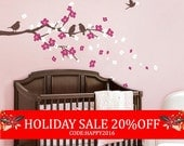 Holiday Sale - SALE Today ONLY! Use Coupon Code SIMPLESHAPES10 for 10% off - Cherry Blossom Branch with Birds - Kids Vinyl Wall Sticker D...