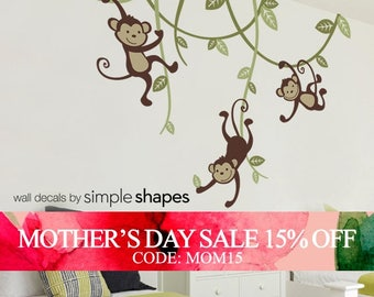 Mothers Day Sale - Monkey decals, 3 Monkeys Swinging From Vines Wall Decal - Kids Vinyl Wall Sticker Decal Set - Nursery Decals