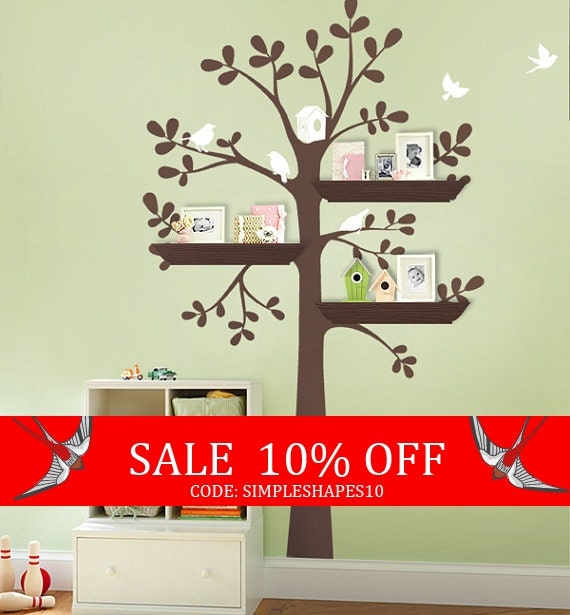 Sale - ORIGINAL Shelving Tree with Birds - LARGE  Kids Vinyl Wall Sticker Decals
