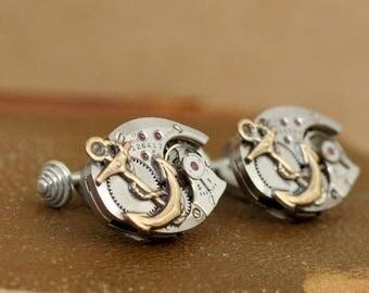 steampunk sterling silver cufflinks, round anchor cuff links, watch movement cuffs, JOURNEY, vintage watch movement, anchor cuff links,