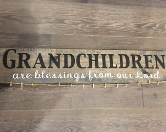 Grandchildren Wood Photo Hanger