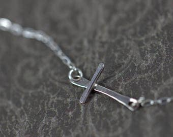 Sterling Silver Chain Necklace with Sterling Silver Cross, dainty, simple, layering necklace, religious