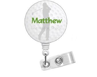Golf Personalized Badge Holder - Golf Badge Reel - Nursing Badge - Male Badge Holder - Teacher Badge Clip - Sports Badge - Gift for Him