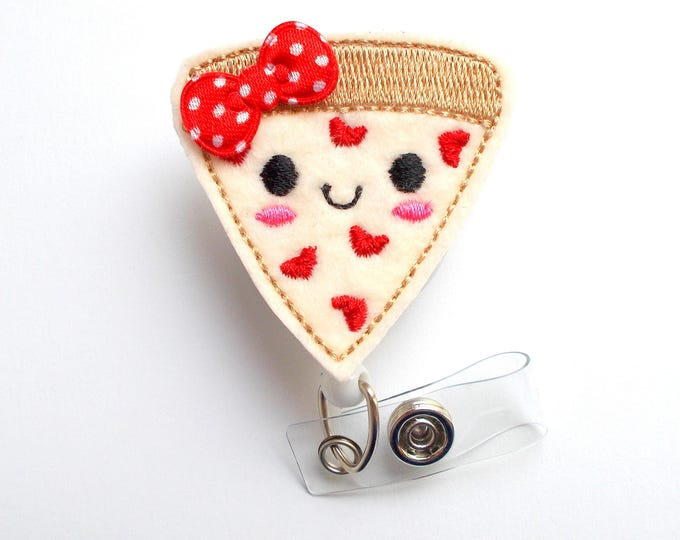 Pizza Badge Reel - ID Felt Badge Holder - Food Badge Reel - Nurses Badge Holder - Funny Badge Reel - Dietitian Badge - Humorous Badge Clip