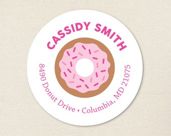 Pink Donut Address Labels - Sheet of 24