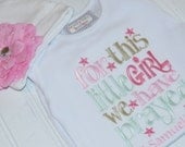 Baby Girl Gift, Monogram Gift, For This Child, We Have Prayed, Little Girl, Christian, Embroidered, Monogram, Infant Gown, Bodysuit