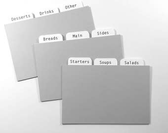 4x6 Pale Grey Recipe Card Dividers for Recipe Cards