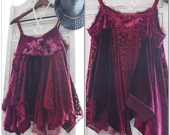 Gypsy soul Velvet top, Stevie Nicks style shirt, bohemian Festival woodland fae, altered clothing, romantic lace shirt, true rebel clothing