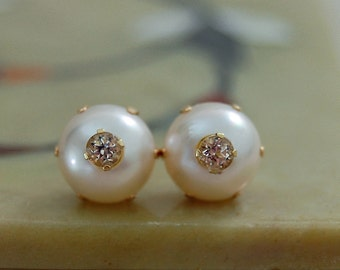 Aida - OOAK 8.5mm soft white Akoya pearl stud earrings with 3mm faceted white sapphire insets, set in solid 14kt gold, post earrings, women