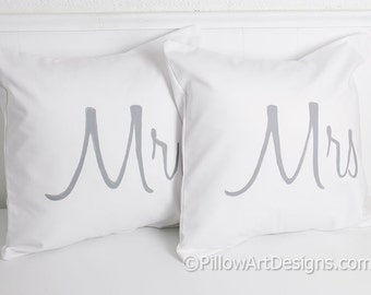 Mr and Mrs Pillow Covers Silver Grey and White Handmade in Canada Ready to Ship