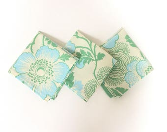 Ivory Floral Pocket Square Mens Handkerchief with Mint Green and ice blue Poppy Print - cotton fabric - embroidered monogrammed option men