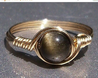 15% OFF SALE Gold Sheen Obsidian 14k Gold Filled Wire Wrapped Ring