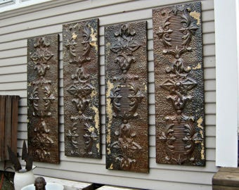 Large wall art, Antique Ceiling Tin Tiles,  Distressed Vintage Decor, Rustic Pressed tin metal tiles, Rustic office home decor