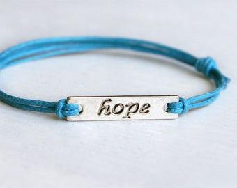 Hope message bracelet, Peace message bracelet, Hope Anklet, Peace Anklet, Hope Bracelet, Peace Bracelet (many colors)