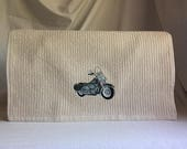 Harley-Davidson motorcycle embroidered on light khaki colored vertical line bar/mop towel