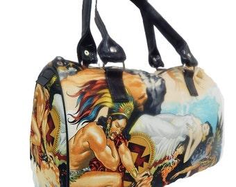 "USA Handmade Handbag Doctor bag Satchel Style ""AZTEC"" Pattern Bag Purse, New, Rare"