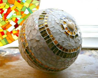 Mosaic Gazing Ball, Stained Glass, Neutral Earth Tones, Sphere, For The Home, Centerpiece, Mosaic Sphere, Gold, Beige, Wedding Decor-10 in.