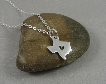 Tiny Texas Heart Necklace, Sterling Silver State of Texas Charm on a Silver Cable Chain