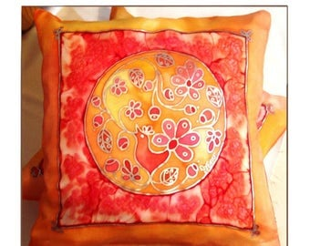 Decorative painted birdy indian mandala throw pillow cover gypsy spiritual silk art for couch