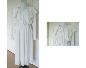 Vintage 80s carole anderson Romantic Sheer White dress - vintage dress, wedding dress, woman's dress