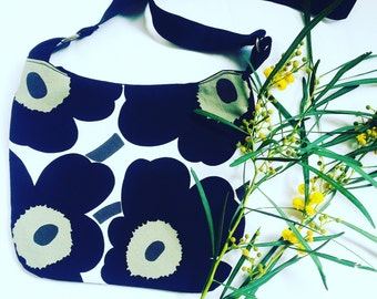 Black Floral Messenger Bag made with Marimekko Fabric , shoulder bag , cross body bag