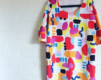 Women KARLA DRESS , COLOURFUL painted fabric dress, wearable art